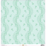 Anna Griffin - Lila Collection - 12 x 12 Cardstock - Blue Lace Stripe