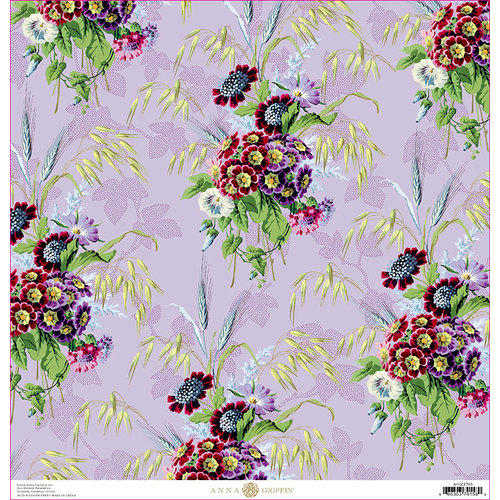 Anna Griffin - Lila Collection - 12 x 12 Cardstock - Primula Floral
