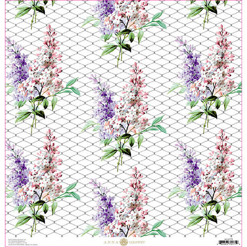 Anna Griffin - Lila Collection - 12 x 12 Paper - Lilac Floral