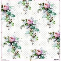 Anna Griffin - Lila Collection - 12 x 12 Paper - Rose Acorn Floral