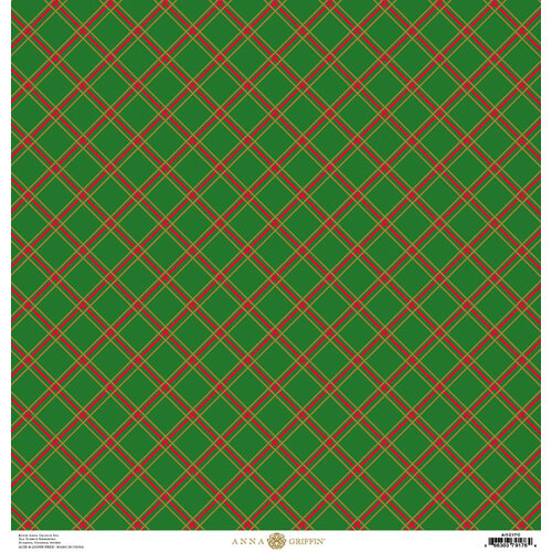 Anna Griffin - Christmas Plaid Collection - 12 x 12 Paper with Foil Finish - Green Diamond