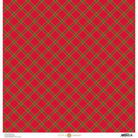 Anna Griffin - Christmas Plaid Collection - 12 x 12 Paper with Foil Finish - Red Diamond