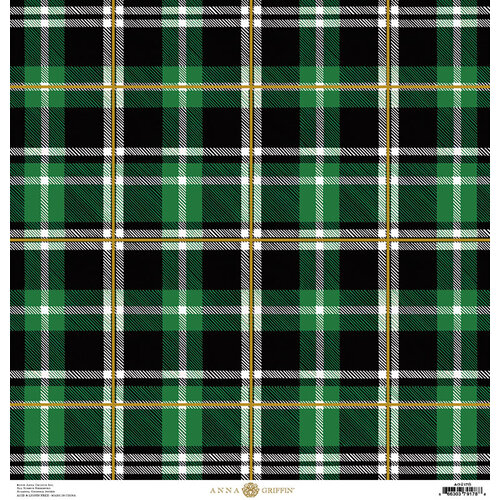 Anna Griffin - Christmas Plaid Collection - 12 x 12 Paper with Foil Finish - Green Tartan