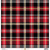 Anna Griffin - Christmas Plaid Collection - 12 x 12 Paper with Foil Finish - Red Tartan