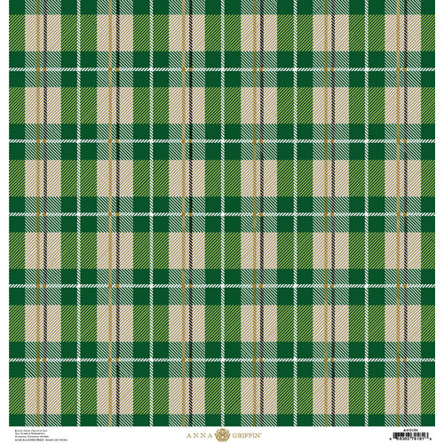 Anna Griffin - Christmas Plaid Collection - 12 x 12 Paper with Foil Finish - Green Glen