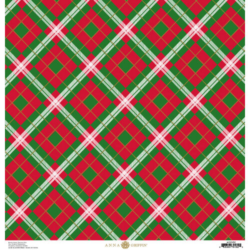 Anna Griffin - Christmas Plaid Collection - 12 x 12 Paper with Foil Finish - Red and Green Windowpane