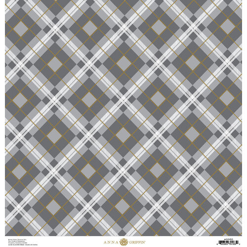Anna Griffin - Christmas Plaid Collection - 12 x 12 Paper with Foil Finish - Silver and Gold Windowpane