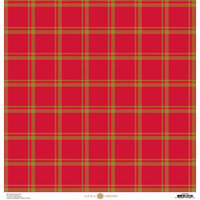 Anna Griffin - Christmas Plaid Collection - 12 x 12 Paper with Foil Finish - Red and Gold Madras