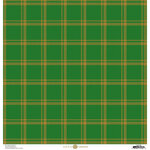 Anna Griffin - Christmas Plaid Collection - 12 x 12 Paper with Foil Finish - Green and Gold Madras