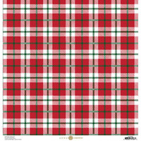 Anna Griffin - Christmas Plaid Collection - 12 x 12 Paper with Foil Finish - Red and Green Madras