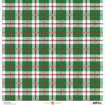 Anna Griffin - Christmas Plaid Collection - 12 x 12 Paper with Foil Finish - Green and Red Madras