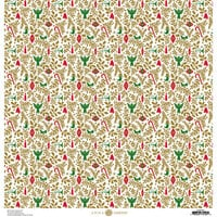 Anna Griffin - Christmas Collection - 12 x 12 Paper with Foil Finish - Gold Holly Ornaments
