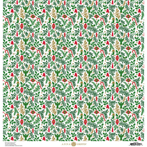 Anna Griffin - Christmas Collection - 12 x 12 Paper with Foil Finish - Green Holly Ornaments