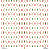 Anna Griffin - Christmas Collection - 12 x 12 Paper with Foil Finish - Gold Harlequin