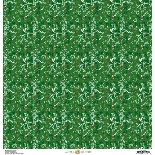 Anna Griffin - Christmas Collection - 12 x 12 Paper with Foil Finish - Green Holly Swirl
