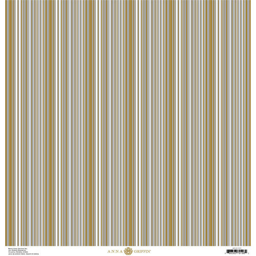Anna Griffin - Christmas Collection - 12 x 12 Paper with Foil Finish - Gold and Silver Stripe