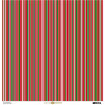 Anna Griffin - Christmas Collection - 12 x 12 Paper with Foil Finish - Red and Green Stripe