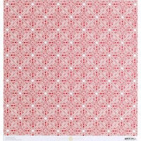 Anna Griffin - Vintage Valentine Collection - 12 x 12 Cardstock - Red Medallion