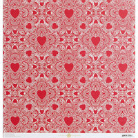 Anna Griffin - Vintage Valentine Collection - 12 x 12 Cardstock - Red Heart Doily