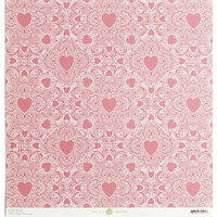 Anna Griffin - Vintage Valentine Collection - 12 x 12 Cardstock - Pink Heart Doily