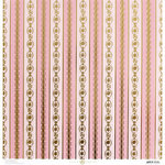 Anna Griffin - Vintage Valentine Collection - 12 x 12 Cardstock with Foil Accents - Pink Striped