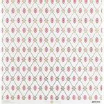 Anna Griffin - Vintage Valentine Collection - 12 x 12 Cardstock with Foil Accents - Lovely Harlequin Ivory