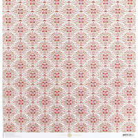 Anna Griffin - Vintage Valentine Collection - 12 x 12 Cardstock with Foil Accents - Red Medallions