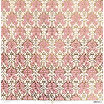 Anna Griffin - Vintage Valentine Collection - 12 x 12 Cardstock with Foil Accents - Pink Damask