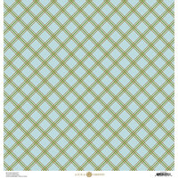 Anna Griffin - Foil Plaid Collection - 12 x 12 Cardstock - Blue and Green Diamond