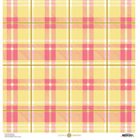 Anna Griffin - Foil Plaid Collection - 12 x 12 Cardstock - Pink and Yellow Bold