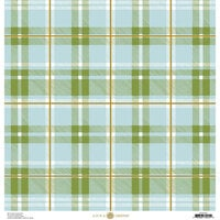 Anna Griffin - Foil Plaid Collection - 12 x 12 Cardstock - Blue and Green Bold