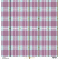 Anna Griffin - Foil Plaid Collection - 12 x 12 Cardstock - Purple and Blue Lined
