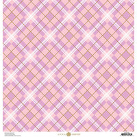 Anna Griffin - Foil Plaid Collection - 12 x 12 Cardstock - Pink and Purple Geometric