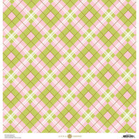 Anna Griffin - Foil Plaid Collection - 12 x 12 Cardstock - Pink and Green Geometric