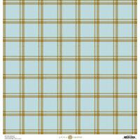 Anna Griffin - Foil Plaid Collection - 12 x 12 Cardstock - Blue Simple