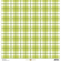 Anna Griffin - Plaid Collection - 12 x 12 Cardstock - Green and White