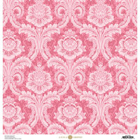 Anna Griffin - Feather Collection - 12 x 12 Cardstock - Damask Pink