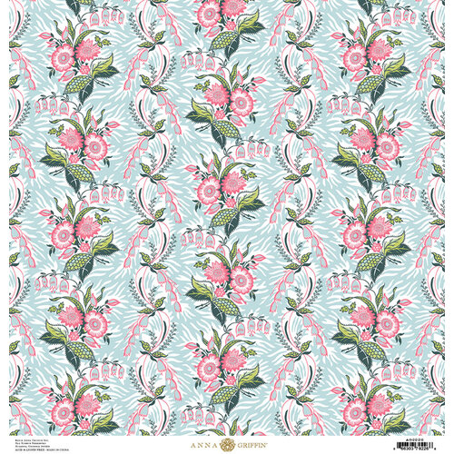 Anna Griffin - Feather Collection - 12 x 12 Cardstock - Vine Blue