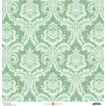 Anna Griffin - Feather Collection - 12 x 12 Cardstock - Damask Blue
