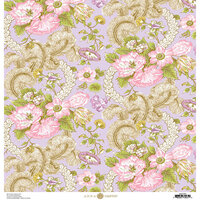 Anna Griffin - Feather Collection - 12 x 12 Cardstock - Floral Pink