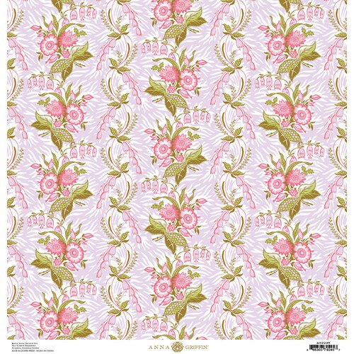 Anna Griffin - Feather Collection - 12 x 12 Paper - Vine Pink