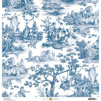 Anna Griffin - Toile Collection - 12 x 12 Cardstock - Pastoral Blue