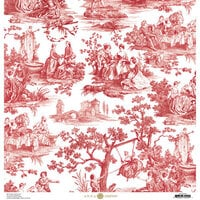 Anna Griffin - Toile Collection - 12 x 12 Cardstock - Pastoral Red