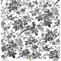 Anna Griffin - Toile Collection - 12 x 12 Cardstock - Floral Black