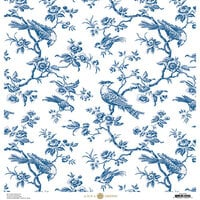 Anna Griffin - Toile Collection - 12 x 12 Cardstock - Branches Blue