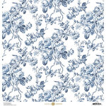 Anna Griffin - Toile Collection - 12 x 12 Cardstock - Roses Blue