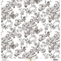 Anna Griffin - Toile Collection - 12 x 12 Cardstock - Roses Black