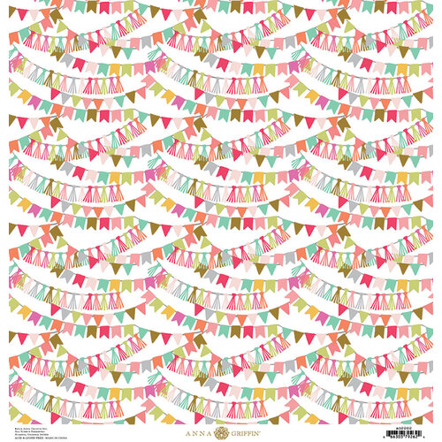 Anna Griffin - Birthday Collection - 12 x 12 Cardstock - Birthday Banners