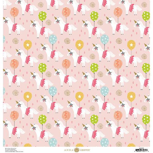 Anna Griffin - Birthday Collection - 12 x 12 Cardstock - Birthday Unicorns Pink
