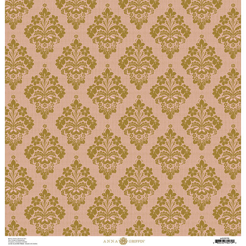 Anna Griffin - Damask Collection - 12 x 12 Cardstock - Pink and Gold